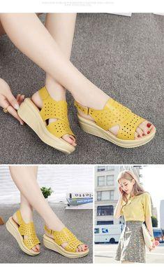 MKML Women's Wedge Hollow Out Sandals omgnb detail 0 Shoes Flats Sandals, Ankle Strap Flats, Pump Shoes, Leather Sandals, Wedge Sandals, Funky Shoes, Clearance Shoes, Pumps, Fashion Sandals