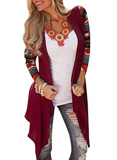 Azbro Womens National Wind Printing Open Front Cardigan * You can get more details by clicking on the image.