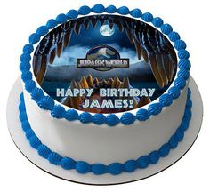 Jurassic World 4 Edible Birthday Cake Topper OR Cupcake Topper, Decor