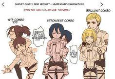 Attack On Titan - with their same hair color - Hanji + Eren = Brown ~ Mikasa + Levi = Black ~ Armin x Erwin = Blonde