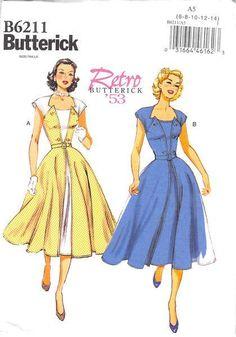 Uncut Butterick Sz Retro Rockabilly Pullover Wrap Dress Pattern 6211 for sale online Motif Vintage, Vintage Dress Patterns, Vintage Mode, Clothing Patterns, Design Vintage, Style Vintage, Retro Style, Vintage Outfits, Vintage Dresses