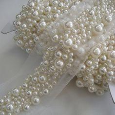 Multi-Pearl Beaded Insertion Trim