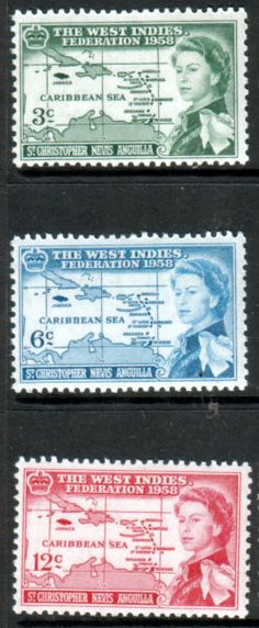 St Christopher Nevis Anguilla 1958 B W I Federation Set Fine Mint SG 120 -122 Scott 136 - 138 Other West Indies and British Commonwealth Stamps HERE!