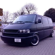 VW T4 Transporter - long nose - matt black - stance - low - Via: http://instagram.com/333morgan333