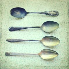 Silver vintage Spoons mint decor Still Life Photography - via Etsy.