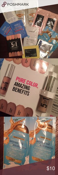 Skin, Hair, Makeup Samples BUNDLE 10 samples - Bare Minerals cream eyeshadow, OGX Argean oil shampoo & conditioner, PANTENE, Matrix, Overnight water sleep mask, facial cleanser, body butter, etc. bareMinerals Other