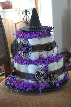 BABY SHOWER~Halloween witch diaper cake