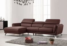 Divani Casa Doss Modern Brown Eco-Leather Sectional Sofa