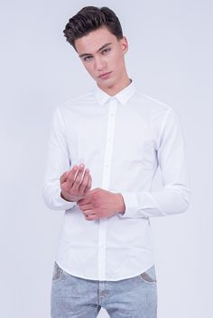 Slim Fit White Shirt In Mini Pointed Collar