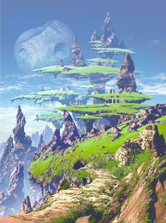 Fantasy world by Magewappa Z - [Gaia] Now: Landscape & Buildings - Art Fantasy Artwork, Fantasy Art Landscapes, Fantasy Concept Art, Fantasy Landscape, Landscape Art, Landscaping Around House, Modern Landscaping, Landscaping Software, Landscaping Edging