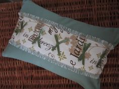 Stuffed Lumbar Pillow of Soft Teal Blue Green  Ready by vertzvkv, $22.00