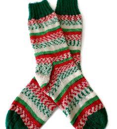 Socks  Hand Knit Women's Christmas Socks  Size by PointedNeedle