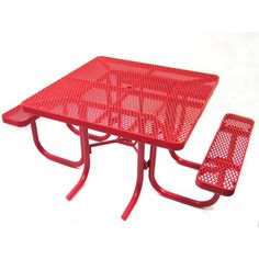 Champion Square Freestanding Picnic Table With Backrests - Mesh picnic table