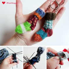 Instructions: knit mini socks keychain - Accessories of Women Knitting Designs, Knitting Projects, Knitting Patterns, Knitting Socks, Hand Knitting, Knitted Hats, Hand Crochet, Knit Crochet, Easter Bunny Pictures