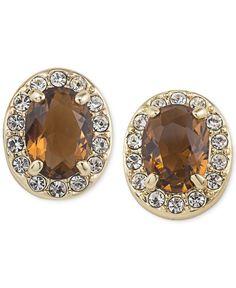 Carolee Gold-Tone Brown Crystal Stud Earrings