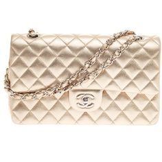Pre-Owned Chanel Classic Double Flap Lambskin Medium ($2,465) ❤ liked on Polyvore featuring bags, handbags, gold, pre owned handbags, chanel handbags, woven handbag, lambskin purse and flap handbags
