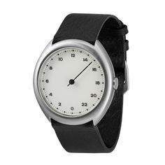 slow O 04 - Black Leather, Silver Case, White Dial