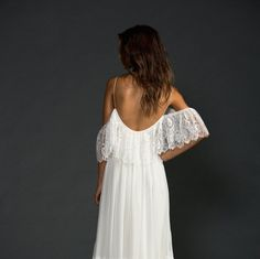 Beautiful low back off the shoulder French lace by Graceloveslace.  Such a great Etsy Boutique for one of a kind wedding dresses.