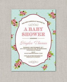 Shabby Chic Baby Shower Invitation.