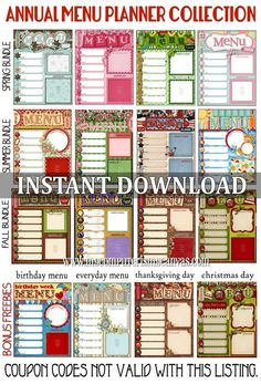 17 Menu Template and Meal Planning Charts - Kitchen Display Board - Seasonal - 7 Day Meal Plan (PRINTABLE FILE)-Ideas