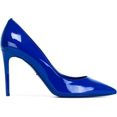 Dolce & Gabbana pointed toe pumps ($690) ❤ liked on Polyvore featuring shoes, pumps, heels, blue, blue pointed toe pumps, blue stilettos, patent leather pumps, blue pumps and pointy-toe pumps