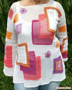 Туника в стиле пэчворк Freeform Crochet, Filet Crochet, Crochet Blouse, Crochet Top, Crochet Crafts, Crochet Clothes, Men Sweater, Tunic Tops, Pullover