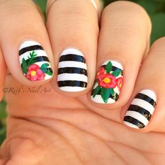 Striped Floral Nails #ruthsnailart #nailart