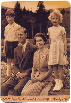 HM Queen Elizabeth II with Prince Phillip, Prince Charles and Princess Anne, 1955