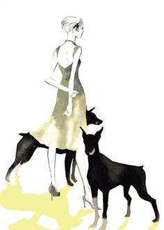 Kaori Yoshioka. Selected by drawDOGS.com artist Stephen Kline for an ongoing exhibition of Pinterest dog art.