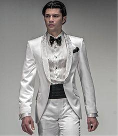 Купить товарNewcustom мужские смокинги золото свадебные костюмы для мужчин с брюками нотч бальное платье куртка + брюки + + галстук в категории Костюмына AliExpress.