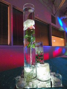 Quinceanera 2013 Turquoise and Silver Bling Centerpieces |Creaciones Unicas|