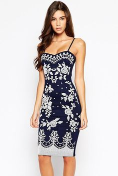 Chic Navy Spaghetti Straps Floral Print Midi Dress