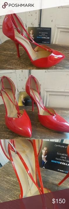 Classy Designer Giuseppe Zanotti Design heels Made in Italy (Vero Cuoio) size 39 bright red heels.  Very good condition.  See pictures of very minor blemishes (small black scuff marks).   Worn by Tiffani Thiessen in White Collar TV show. I would guess the size fits truer to a 8.5. Giuseppe Zanotti Shoes Heels