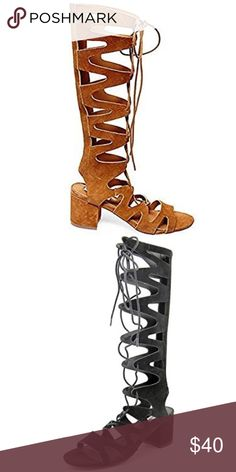 Steve Madden Lorraine Gladiator Sandals The perfect summer party shoe! Steve Madden Knee-high mid heel camel suede gladiator sandal with lace up vamp and cutout detailing / gently used and show minor signs of wear on the inner sole (typical of suede material) otherwise immaculate condition! Size 7.5 / more photos coming soon!   Please note: the 2nd image is for reference, the pair I have is camel NOT black Steve Madden Shoes Sandals