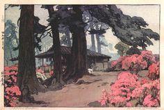 Azalea Garden (Teahouse)  by Hiroshi Yoshida, 1938