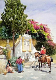 Charla-en-la-Fuente  \\ Watercolor painting by the Spanish artist Jose Gonzalez Bueno (r.1957)