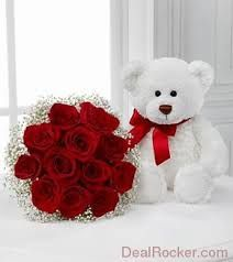 Flowers and a teddy, in matching red and white. Would cost around £60.