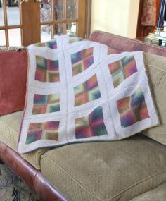 Mitred squares throw with a flannel lining (tutorial for the lining!)