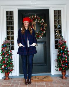 navy and red plaid peacoat