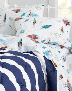 Glow-in-the-Dark White Rockets Flannel Bedding