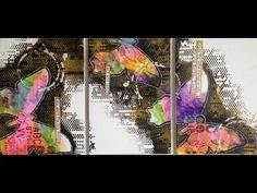 Nika Rouss - to go with previous  picture - Triple Mixed Media Canvas: Butterflies - YouTube