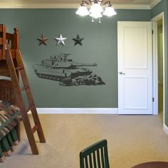 Tank Army Boys Kids Room Wall Art Decor Decal Large New | eBay