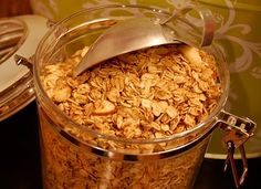 Homemade Healthy Granola - oven baked, easy to make.  Add it your yogurt, make granola bars out of it or just eat it plain.