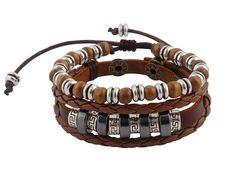 0918fce7be9 Speciaal voor 5 december! Leuke schoenkadootjes. Unieke sieraden vanaf €  7,50. - Bruin gevlochten leren armband met houten kralen uit Tibet