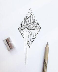 "232 Me gusta, 11 comentarios - R o i M a r t i n e z (@xoseroi) en Instagram: ""Waterfall dream #illustration #tiny #waterfall #nature"""
