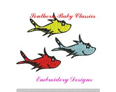 One Two Red Blue Fish Dr Seuss Cat in The File for Embroidery Machine Monogram Instant Download Character Book Nautical Boy Cute School by SouthernBabyClassics on Etsy