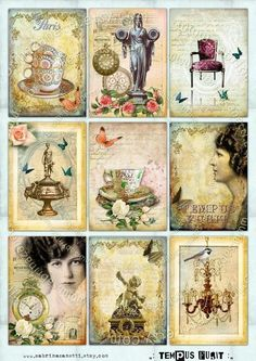 Instant Download Digital collage sheet TEMPUS FUGIT por JLeeloo, $3.60