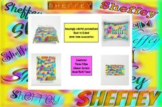 Super special Sheffey fonts in pink and yellow rainbow colors. Amazing gift ideas for back to school dorm rooms.    &nbsp…