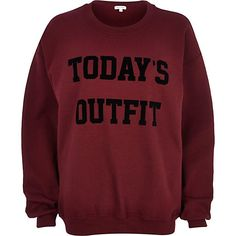 Red today's outfit print sweatshirt - sweaters / hoodies - t shirts / vests / sweats - women