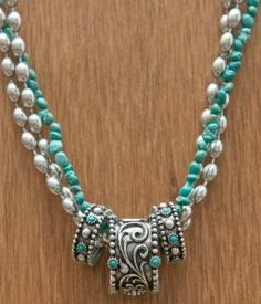 Perfect mothers day gift... I think so!!! Montana Silversmiths Antique Silver w/ Turquoise 3 Rings & Strands Necklace